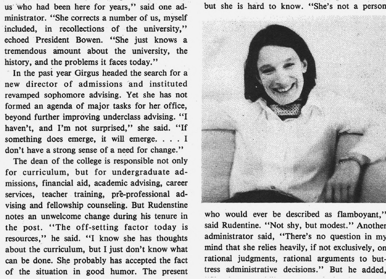 Daily Princetonian article clipping about Joan Girgus, the first woman to be named Dean of the College.