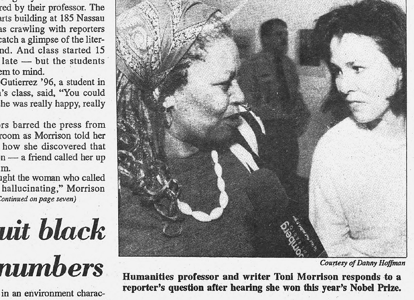 Daily Princetonian clipping featuring Toni Morrison, Nobel Prize winner.