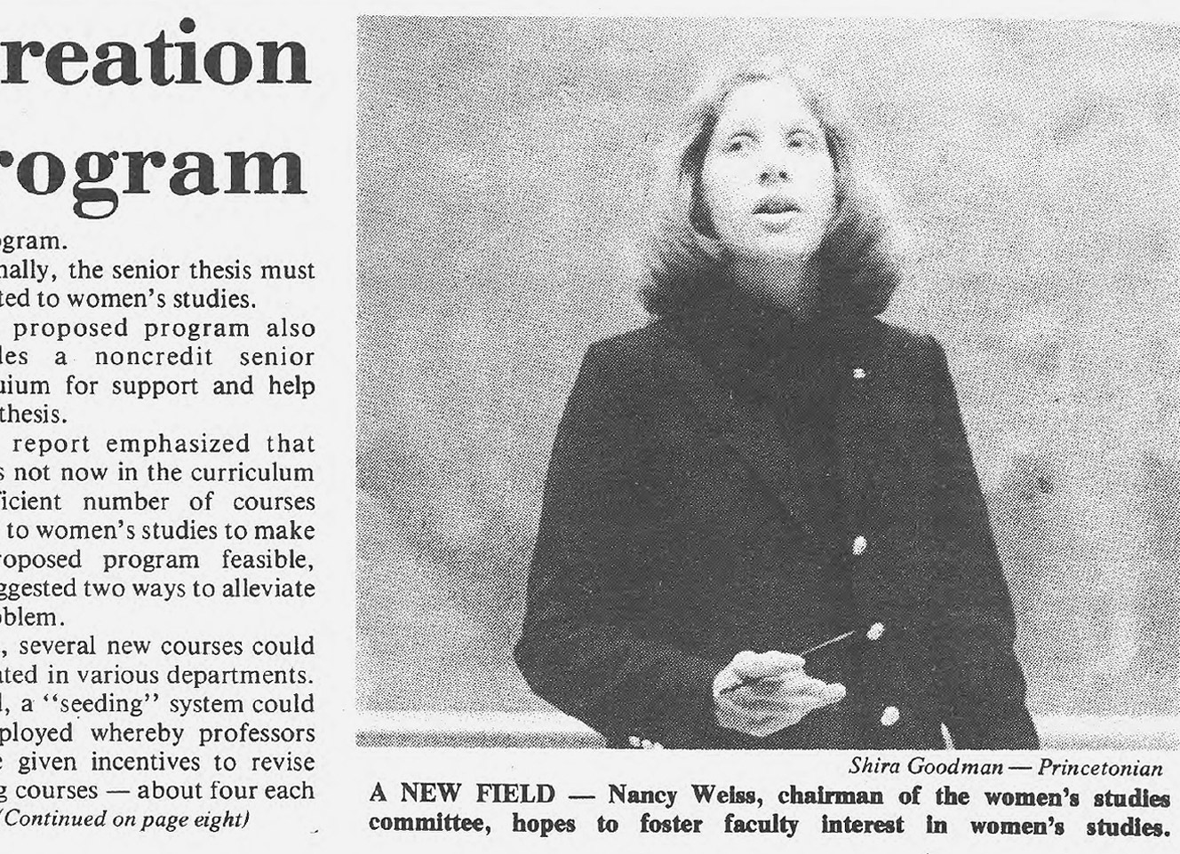 Daily Princetonian clipping featuring Nancy Malkiel, then chairwoman of the Women's Studies Committee.
