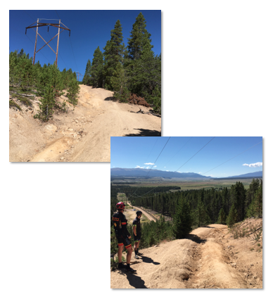 "A casual glance up and down the infamous ""Powerline"" in Leadville, CO.  She's a whopping 1km of 26% at the base into an additional 6km at a 13% avg. to the summit."