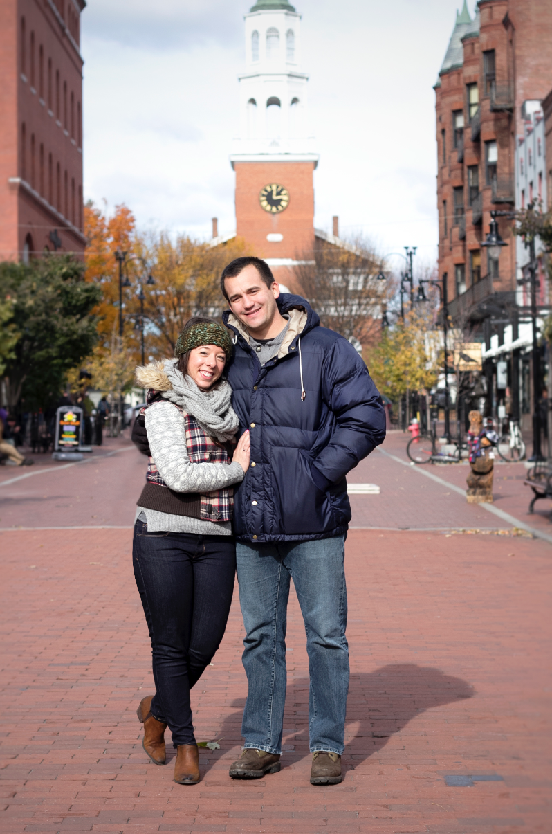 Collin and I enjoying Church Street in Burlington, Vermont