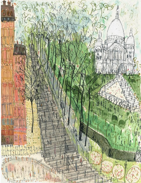 This beautiful artwork is called Sacre Coeur Paris Steps Montmartre, and it is a Limited Edition Art Print or a Watercolour Painting, by a lovely artist called Clare Caulfield. Her work can be viewed on her Etsy page www.etsy.com/au/listing/213693703/