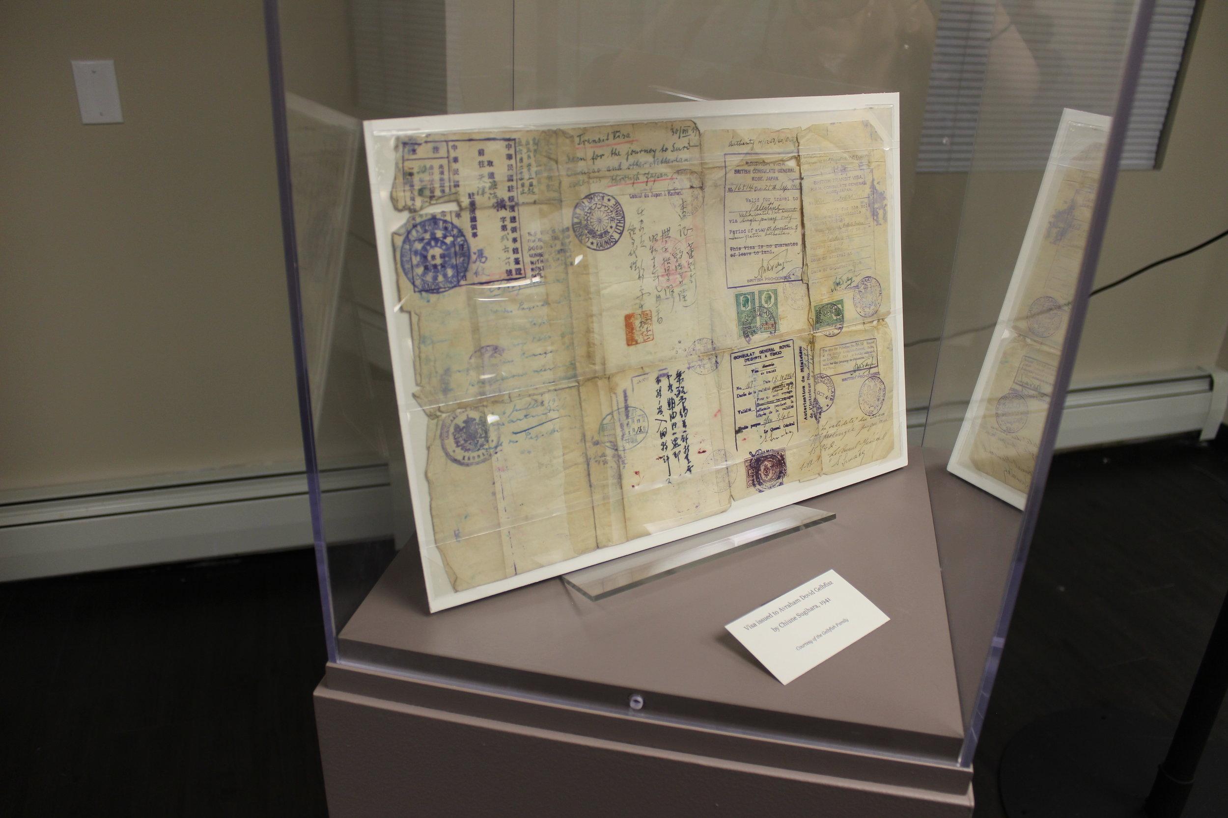 Visa issued to Avraham Dovid Gelbfisz by Chiune Sugihara, 1941