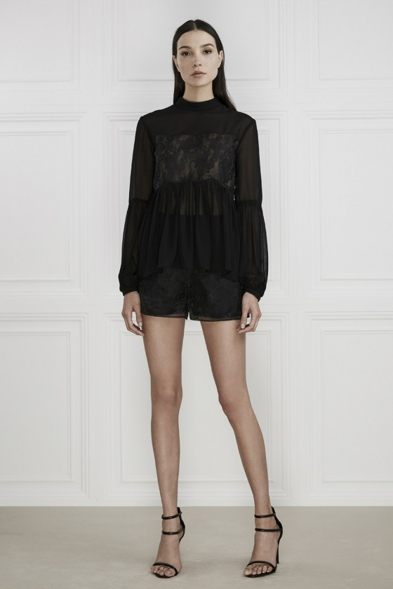 Keepsake The Label Sundream Lace Long Sleeve Top + Shorts.