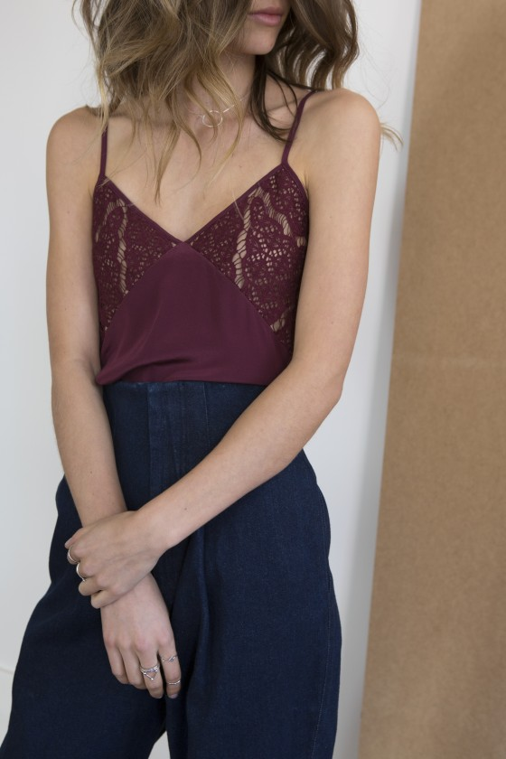 Shop Keepsake Intimates Into The Night Silk Cami + The Fifth Label Fact and Fiction Pant.