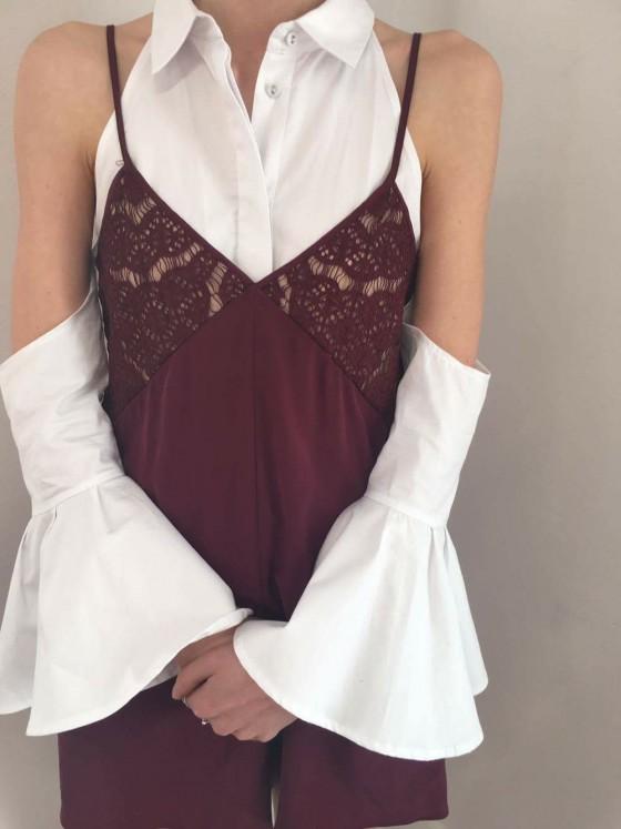 Shop Keepsake Intimates Into The Night Silk Romper + C/MEO Show Me Shirt.