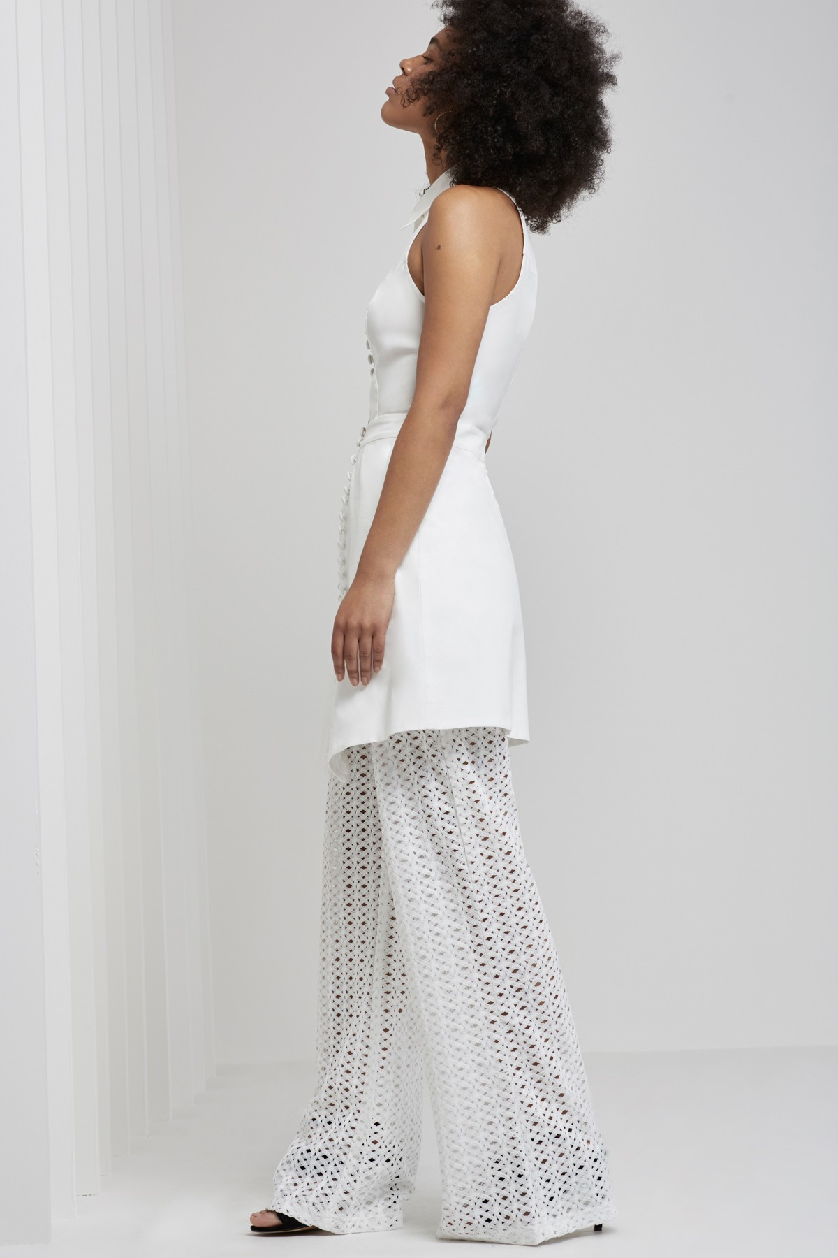 Shop C/MEO COLLECTIVE  Let It Go Short Sleeve Shirting Dress  +  Silver Sounds Pants.