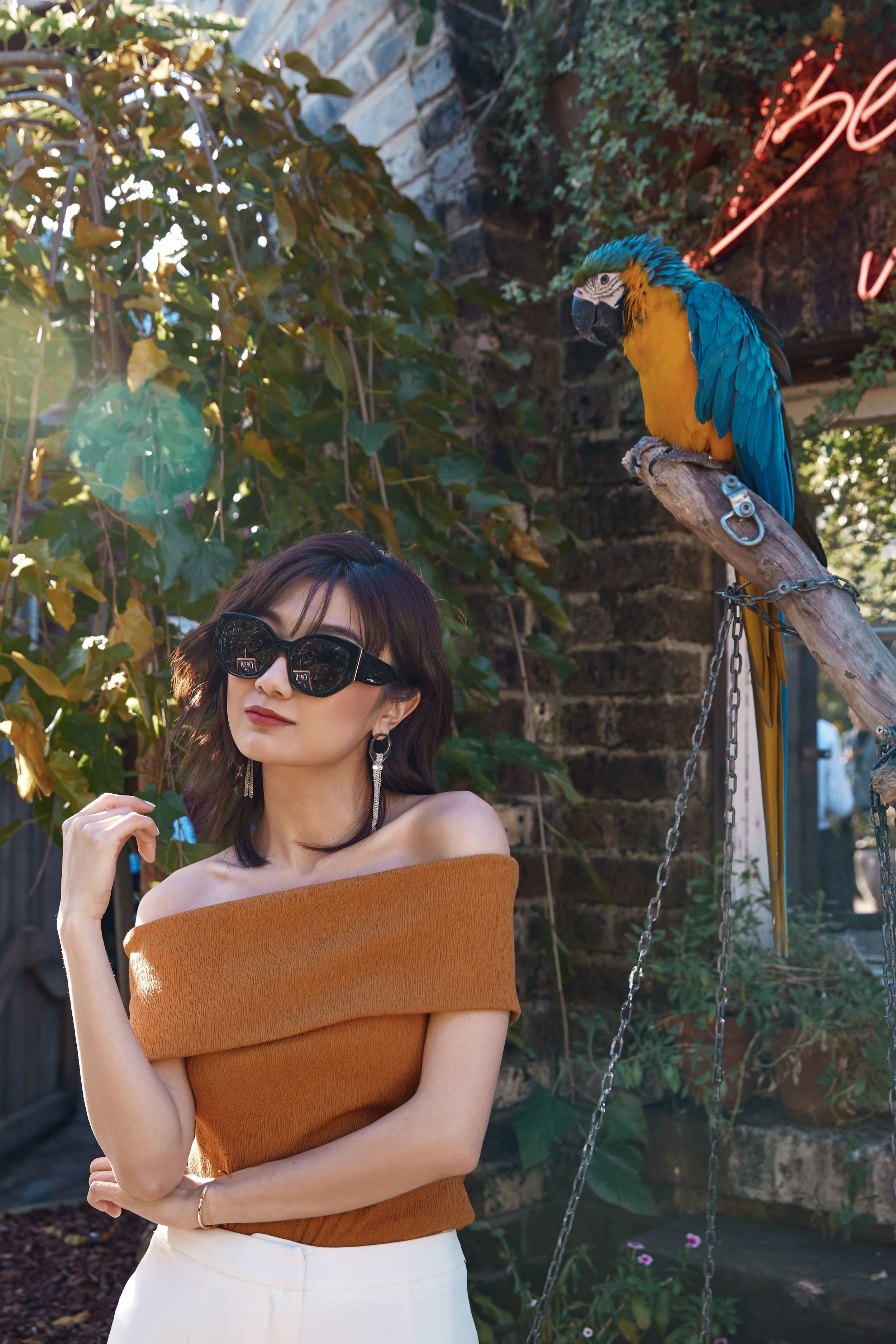 Save wears  C/MEO Interlude Off Shoulder Top  + Don't Stop Pant.
