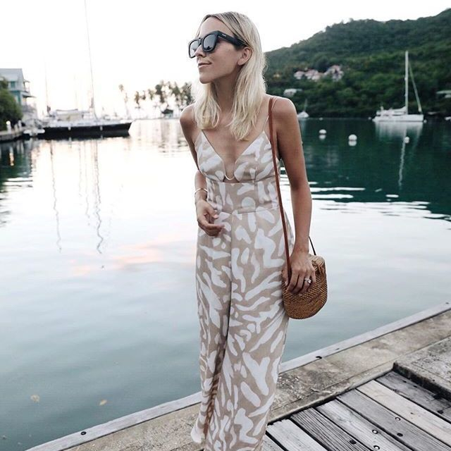 Resort vibes ☀🌴. Babin' @damselindior wears our @finderskeepersthelabel Mercurial Pantsuit in nude spot. Shop now, link in bio. #BNKR #FindersKeepersTheLabel #fashionblogger #shopnow