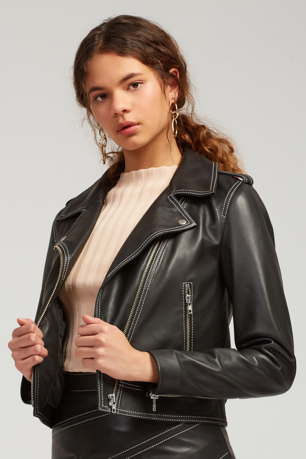 Shop C/MEO Lesson Learnt Leather Jacket.