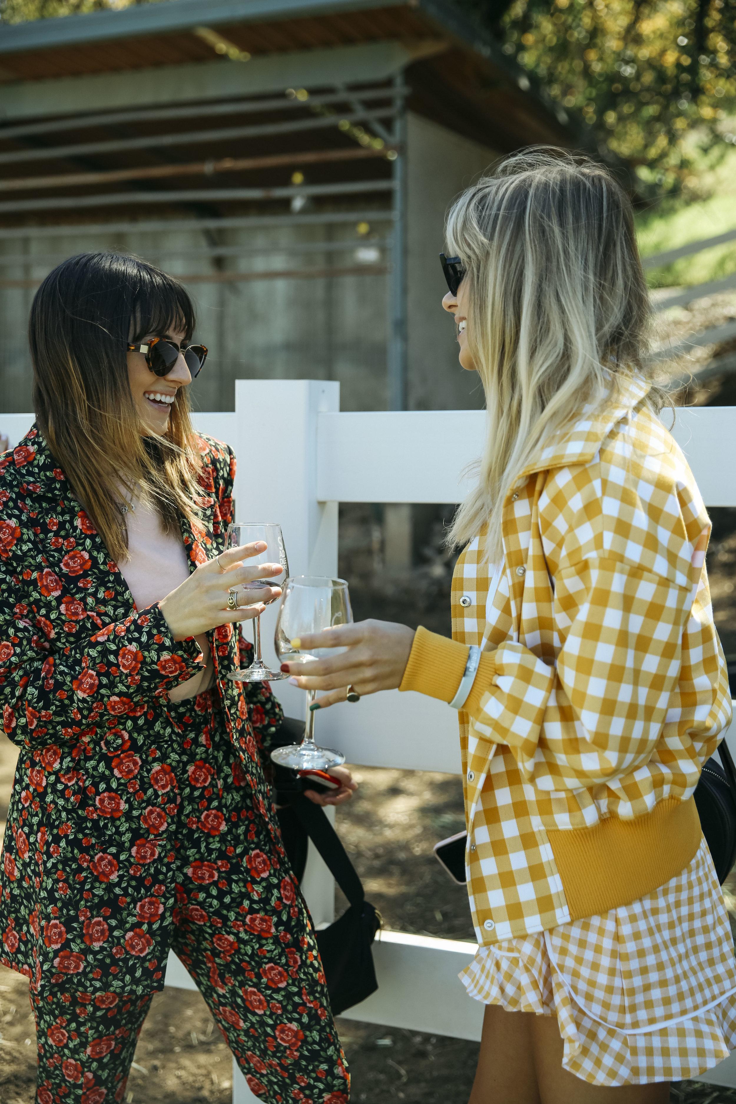 Rachel wears  C/MEO Own Light Blazer  +  Pant , Courtnee wears The Fifth Idyllic Bomber Jacket + Short.