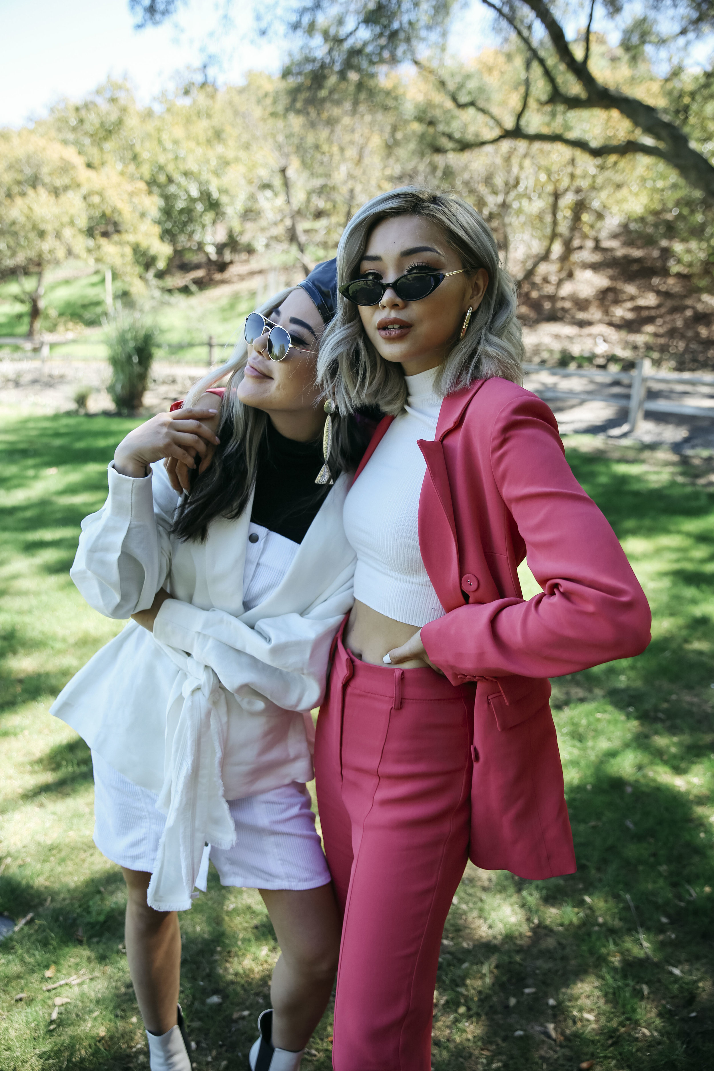 Eugenie wears  Director Jacket  +  Central Dress , Francis wears  Own Light Blazer  + Pant.