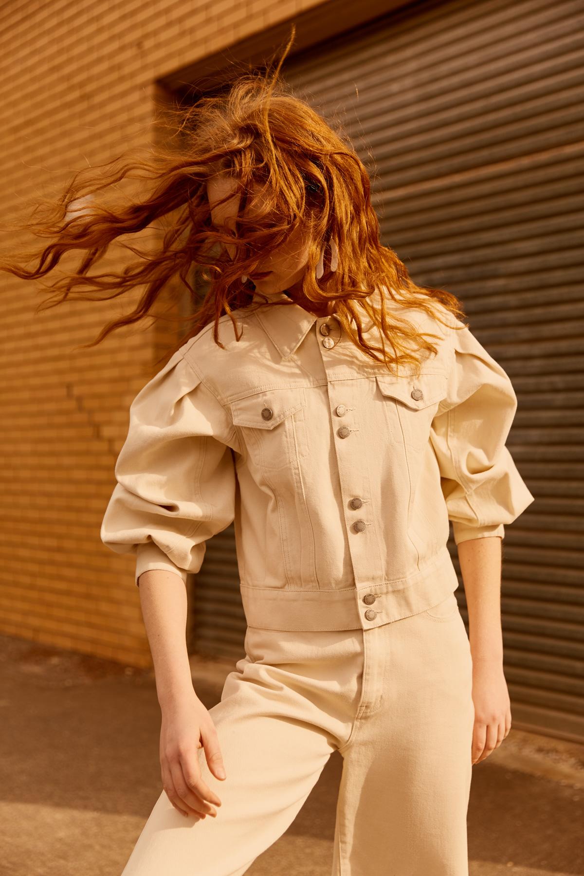 Grace wears C/MEO Essentials Jacket + Jean (coming October).