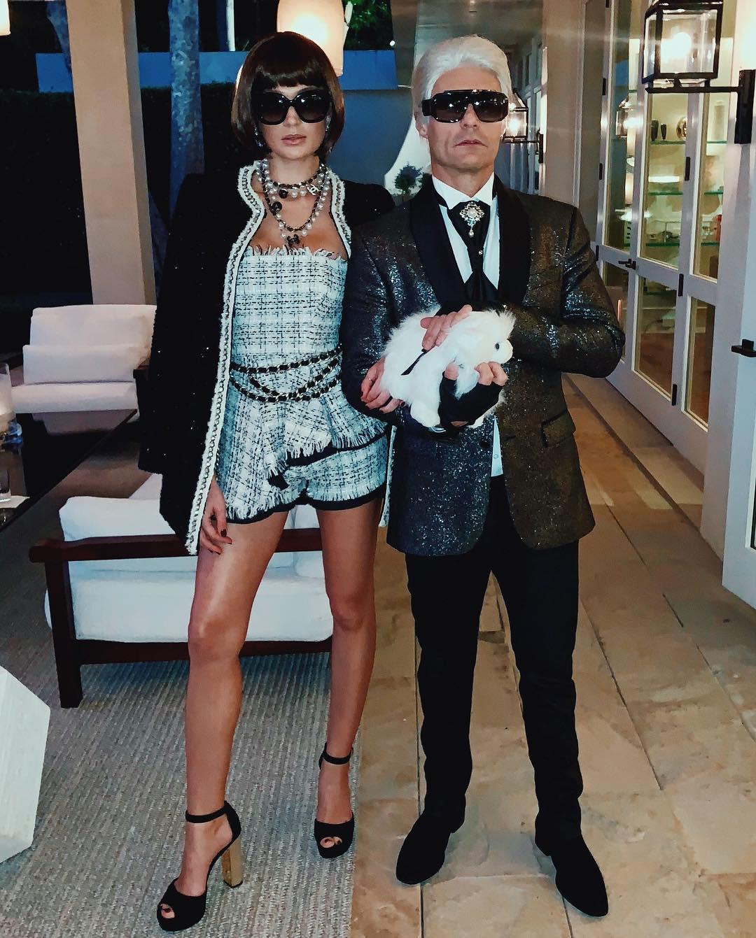 Shayna Terese Taylor + Ryan Seacrest as Anna Wintour + Karl Lagerfeld // via instagram.com/ryanseacrest