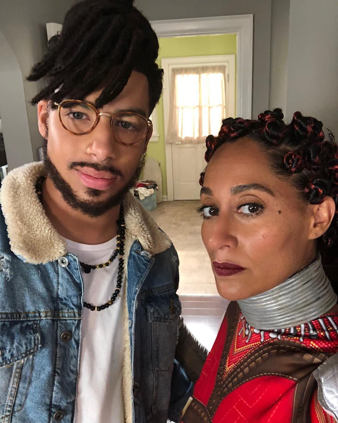 Marcus Scribner + Tracee Ellis Ross as Killmonger + Nakia // via instagram.com/traceeellissross