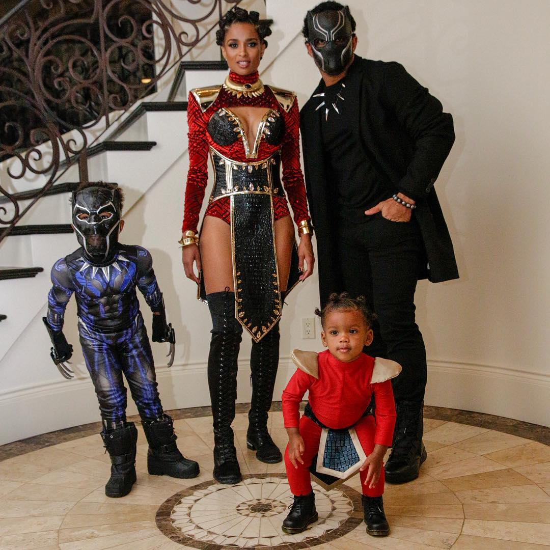 Ciara + family as Black Panther heroes // via instagram.com/ciara