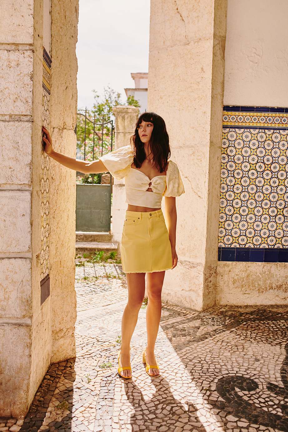 Shop  C/MEO Elate Top ,  The Fifth Lillian Skirt  +  JAGGAR Concave Leather Heel .