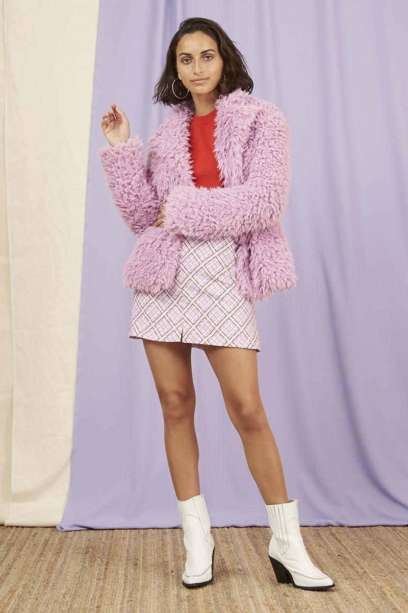 Shop  Finders Keepers Bonny Fur Jacket ,  Josie LS Knit  +  Nostalgia Skirt .