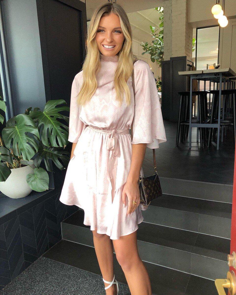 @chantelleprice_ wearing the Pearl Mini Dress
