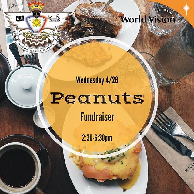 Come out to our Peanuts fundraiser from 2:30-6:30pm TOMORROW as we end our 30-hour famine! Show this flyer on your phone and stay tuned for more info! See you tomorrow!!