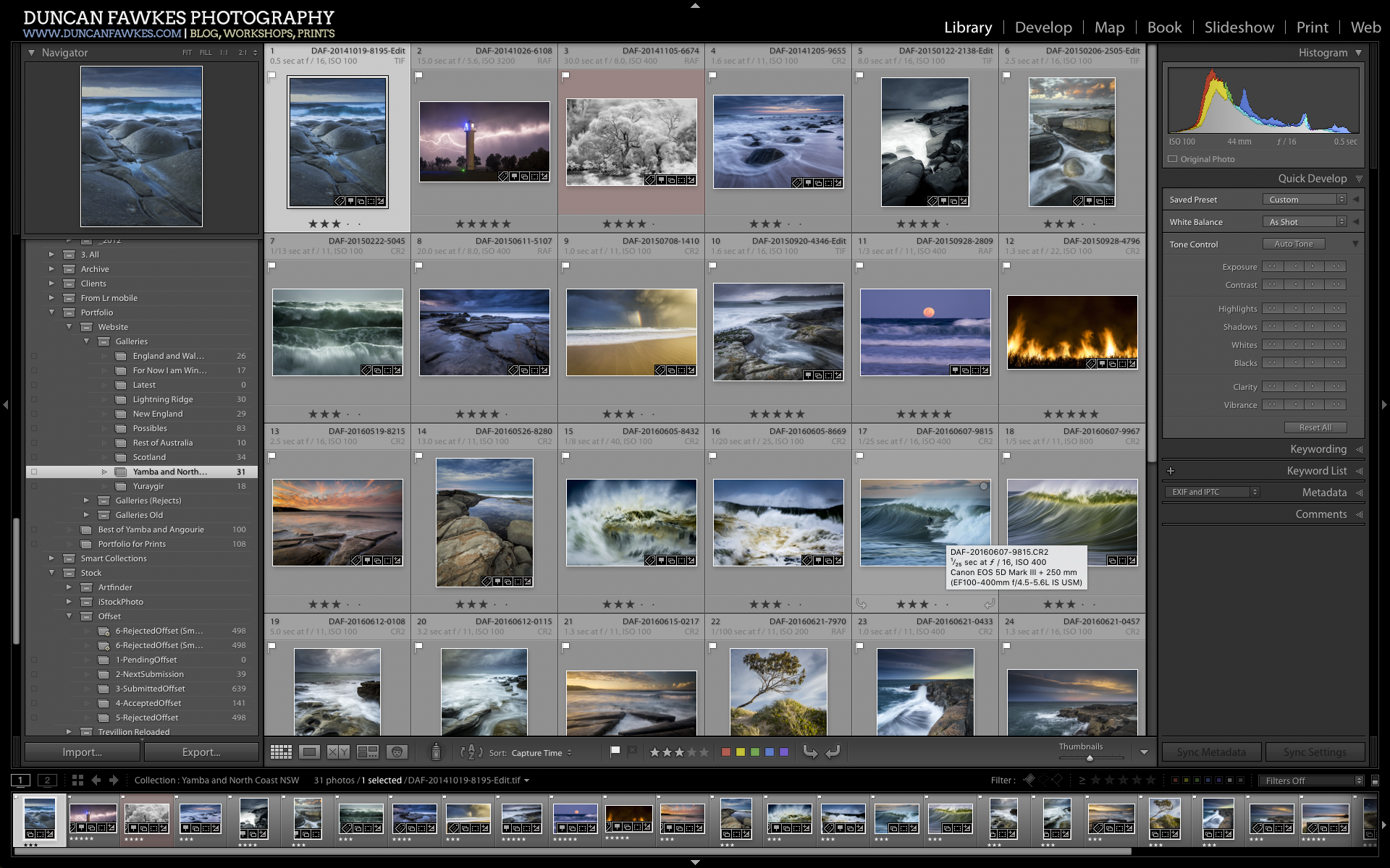 Figure 2: screenshot of Lightroom CC on the NEC PA241W. I've been used to this view for years. I'd always hide the panels to give me a bit more room.