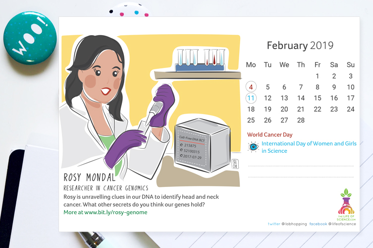 Illustrated 2019 calendar feat. 13 Indian Women in Science - Download your personal free e-copy here