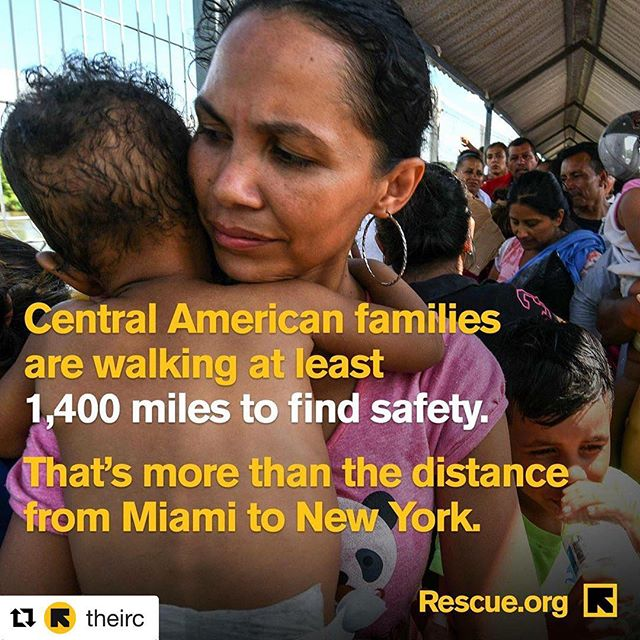 #Repost @theirc with @get_repost ・・・ Imagine having to walk 1,400 miles to keep your family safe? That's the desperate and difficult choice parents from El Salvador and Honduras are making the every day to protect their loved ones.  On top of it all, Central Americans have the *right* to request asylum in the U.S. without being criminalized or separated from their children.  People should not be criminalized for fleeing violence and seeking protection.  Visit Rescue.org to learn more about our work and how you can help. #RefugeesWelcome #StandWithRefugees
