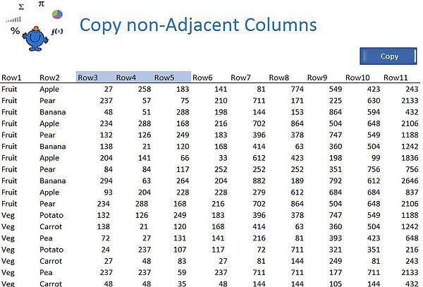 Copy non adjacent colunns