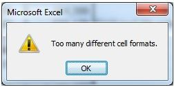 This is the error message in Excel which stops any style dead.