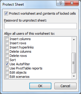 Protect Excel Sheet autofilter
