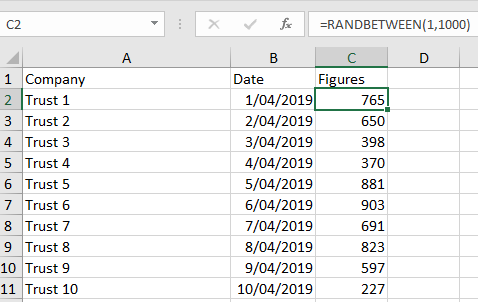 Adding a Unique Random Number within a Range — Excel