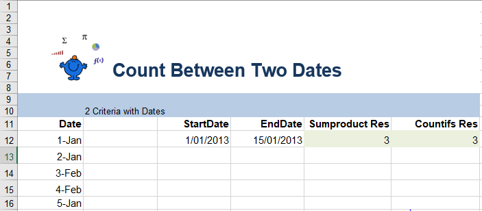 Excel count between dates