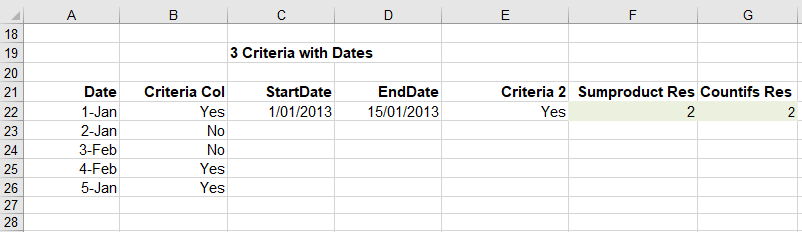 Excel count between many dates