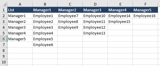 Cascading List in Excel