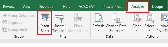 Insert an Excel Slicer