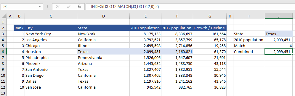 Excel Index and Match combined