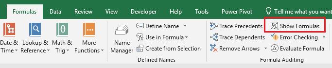 Show formula Excel