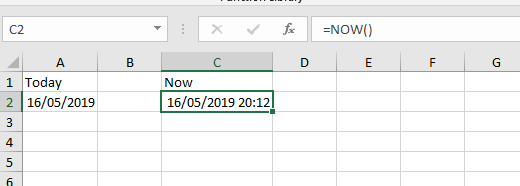 NOW in Excel date