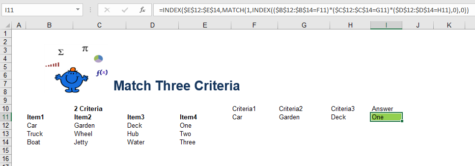 Match text criteria excel