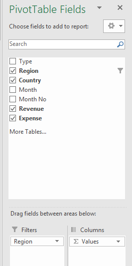 excel pivot table creation