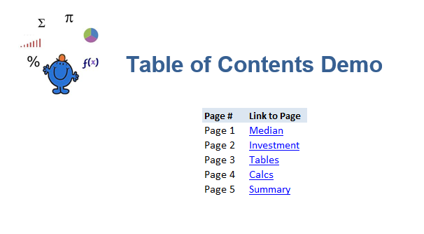 Table of Contents Excel