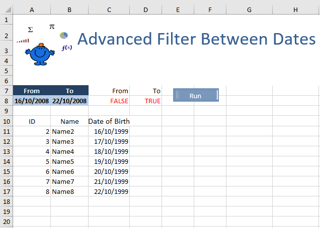 Advanced Filter Between Dates — Excel Dashboards VBA and more