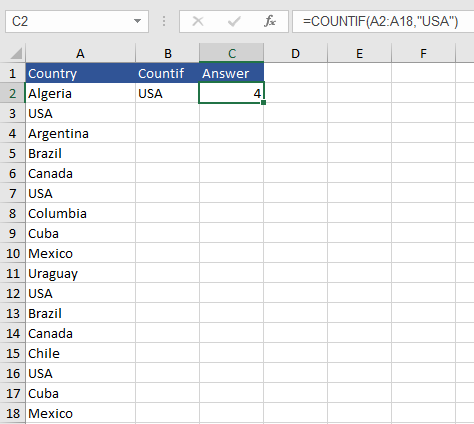 Countif with Excel