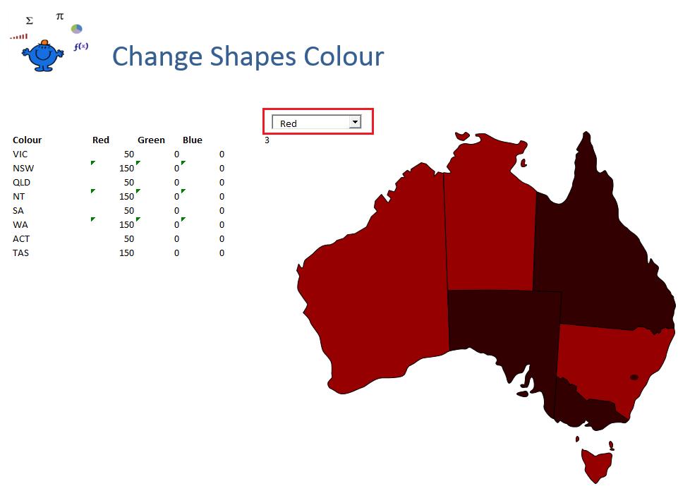Shape Colour Excel
