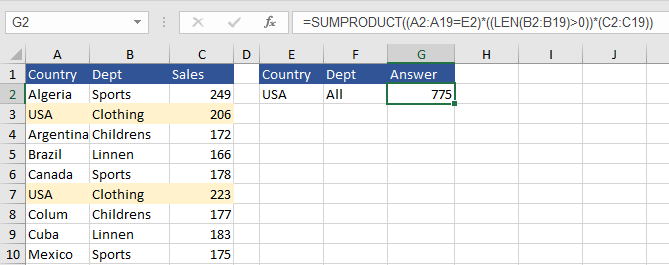 Sumproduct Excel