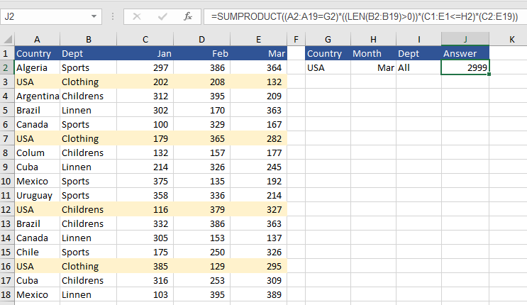 Sumproduct Excel Formula Wildcard