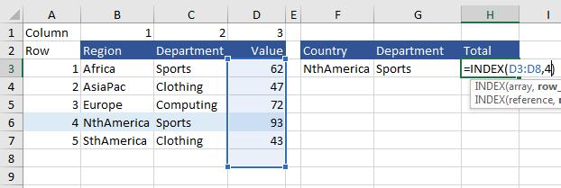 Index Excel Example