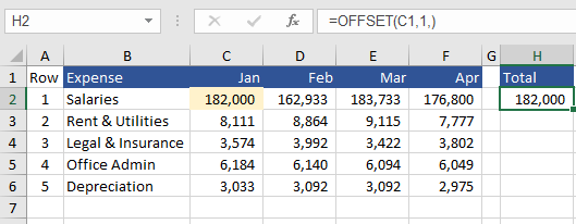 Row offset excel