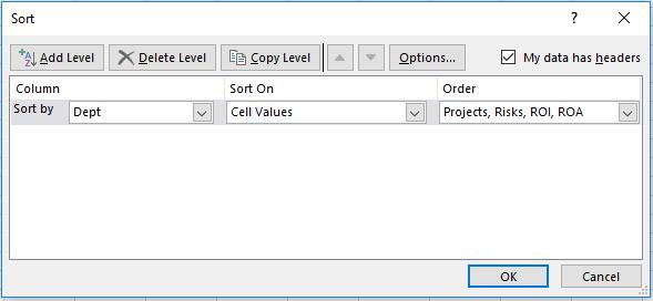 Sort Excel custom