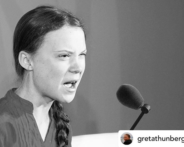"""Absolute goosebumps for this environmental warrior ❤️💕 ————- Posted @withrepost • @gretathunberg """"You are failing us. But the young people are starting to understand your betrayal. The eyes of all future generations are upon you. And if you choose to fail us I say we will never forgive you. We will not let you get away with this. Right here, right now is where we draw the line. The world is waking up. And change is coming, whether you like it or not."""" My full speech from UN General Assembly in print. Link in bio."""